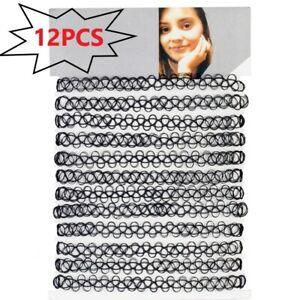 12pcs/Set Black Stretch Tattoo Choker Womens Girls Chocker Elastic Necklace UK