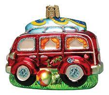 Blown Glass VW Van Woody & Surfboard Christmas Ornament