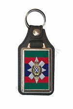 BLACK WATCH REGIMENT CAP BADGE ON A LEATHER STYLE KEY RING. INSERT 2.5 X 4 cm