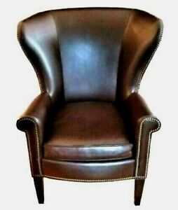 Wingback Faux Leather Chair by Mitchell Gold Polo Lauren Writer's Style Made USA