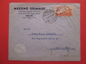 1940 REGNO - A.O.I. - busta da ASMARA x MILANO