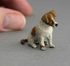 More details for tiny vintage cold painted bronze miniature jack russell terrier dog nipper