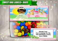 4 Personalised PRINCESS TIANA Fold Over Cards & Bag Birthday Party Favours