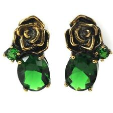 Vintage Green Emerald Ladies Wedding Black Gold Silver Earrings