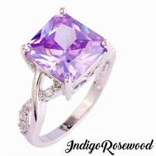 Gorgeous Sterling Filled Purple Tourmaline Ring With White Topaz Accents Size 8
