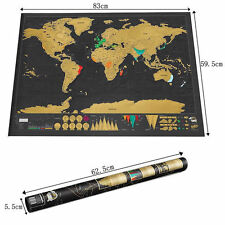 Large Log Scratch Off Map of the World Poster Personalized Wallpaper Travel Gift