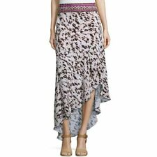 Haute Hippie Animal Print Asymmetrical Hem Beaded Waist Silk Maxi Skirt  Size S