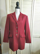 Vintage Talbots Burgundy long Equestrian blazer JACKET 100% wool sz 12P