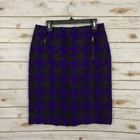 Carlisle Black Blue Houndstooth Straight Pencil Career Skirt Size 10