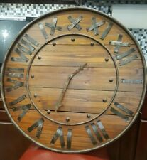 "Working Vintage Wooden Large 27"" Rustic Antique Vintage Wall clock"