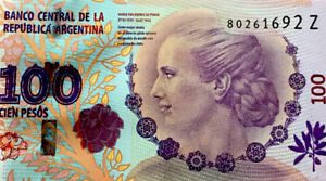 Argentina Banknote Evita (Eva Peron)$100 PESOS Bill Note P-358  UNCIRCULATED