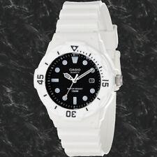 Casio LRW200H-1EV Ladies Watch Analog Black Dial Date 100m WR White Band New