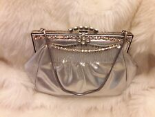 Vintage 1950's Silver Faux Leather Diamante Clasp Hand Held Chain Prom Bag