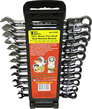RATCHET WRENCH SPANNER SET 12pc 8 to 19mm FLEX HEAD METRIC T&E TOOLS GENUINE