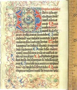 Small deco. manuscript leaf,Prayer book,Latin,large deco initial,Dutch c.1490