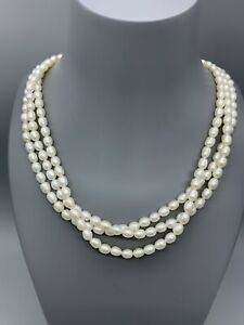 Pearl Triple Strand 925 Clasp Freshwater Pearl Choker Necklace