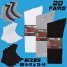 Mens 20 Pairs Cotton Rich Sports Socks Plain Black White Grey Size 6-11 & 12-14