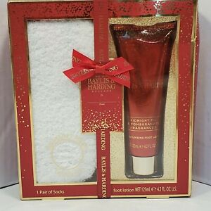 Baylis & Harding Gift Set Soft White Socks Foot Lotion Midnight Fig Pomegranate