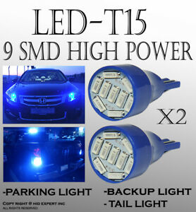 2 pairs T15 LED Chip Blue Wedge Direct Plugin for Parking Car Light Bulbs B166