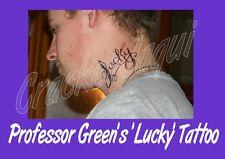 fake custom TEMPORARY TATTOO Professor Green rapper ' LUCKY ' neck LASTS 2 WEEKS