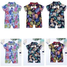 Newborn Baby Boys Summer Clothes Printing Romper Button-Down Casual Shirt Outfit