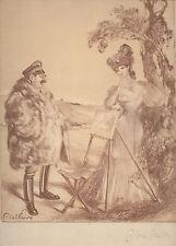 Gravure Lithographie par Abel Faivre.Madame peint. signature autographe