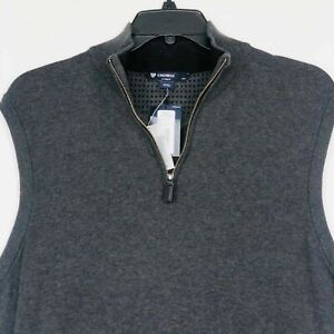 Daniel Cremieux 1/4 Zip Sweater Vest XL Gray Charcoal 100% Supima Cotton NWT NEW