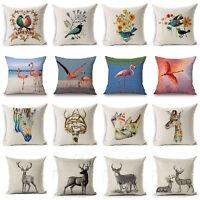 Flamingo Deer Pillow Case Cotton Linen Sofa Throw Cushion Cover Bird Home Decor