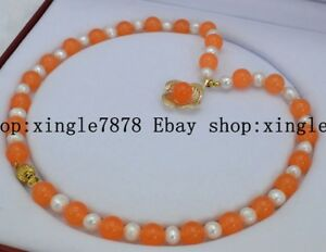 Charming Natural 10mm Orange Jade &7-8mm Genuine White Cultured Pearl Necklace
