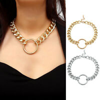 Women Trendy Hip Hop Circle Pendant Thick Chain Choker Necklace Jewelry Gift Pr