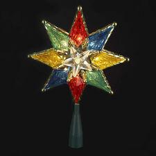 "KURT ADLER 8"" MULTI COLOR 8 POINT STAR 10-LIGHT TREETOP TREE TOPPER XMAS DECOR"