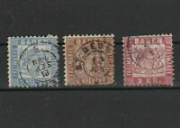 baden 1862 - 68 stamps cat £130 faults  ref r11287