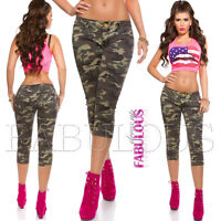 Sexy Women's Camo Capri Jeans Size 10 12 14 6 8 XS S M L XL Hot Military Stretch