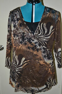JUNGLE/ANIMAL PRINT 3/4 SLV TOP - SZ 22 - with Black Camisole - Target