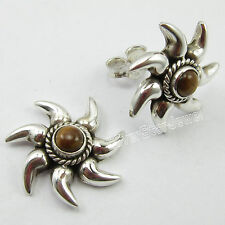 """925 Solid Silver BROWN TIGER'S EYE RETRO STYLE SUN Stud Earrings 0.7"""" NEW ITEM"""