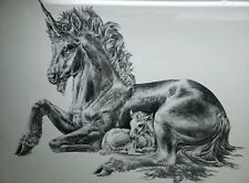 5D PICTURE 365mm x 465mm BLACK FRAMED UNICORN AND BABY 3D