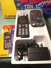 MITSUBISHI T200 Digital Cell Phone Multi Network Vintage ,case,charger, manual