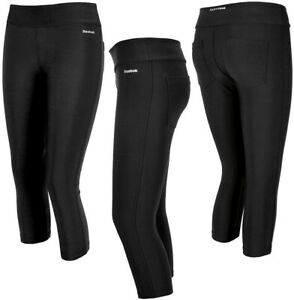 Reebok Capri Ladies 3/4 Leggings Sport Training Pants Compression Running Black