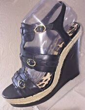 JESSICA SIMPSON WOMEN 8 MACK Black Platform Wedge Heel Sandal  Buckle Shoe NIB