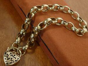 9k 9ct Solid Gold Vintage Belcher Heart Bracelet. 7.5mm, 21.5cm 17.17g