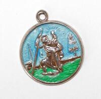 Saint Christopher Sterling Silver Blue Enamel Vintage Charm Pendant 2.5g