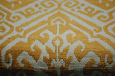 GOLDEN YELLOW OFF WHITE IKAT DAMASK UPHOLSTERY FABRIC 3.125 YDS