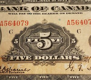 1935 Canada $5. English Version. RARE Bank of Canada's First Series of Banknotes