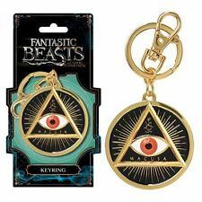Harry Potter New * Fantastic Beasts MACUSA Gold Eye * Pewter Key Chain Key Ring