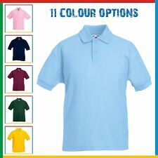 CHILDRENS POLO SHIRT Kids FRUIT OF THE LOOM Poly/Cotton 2 Button Boys or Girls