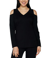 H by Halston VIP Ponte V-neck Cold Shoulder Top - X-Small - Black