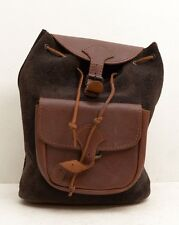 Vtg Leather Backpack Purse Brown Black Suede 90s Grunge Boho Festival Tote Bag