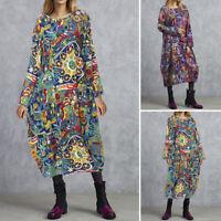 UK Women Summer Holiday Long Sleeve Dress Casual Loose Kaftan Baggy Midi Dresses