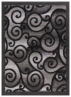 "Princess Geometric Swirl Abstract Area Rug 806 Light Grey / Black 5' 2"" x 7' 2"""