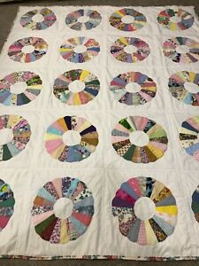 """Homemade Dresden Plate Farmhouse Twin Sized Quilt - 67"""" x 84"""" - Hand Stitched"""